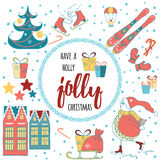 Have a Holly Jolly Christmas greeting card with calligraphy and xmas decorative elements Stock Photos