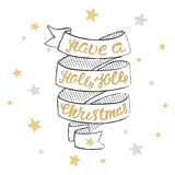 Have a holly jolly christmas Lettering. Christmas hand calligraphy card Royalty Free Stock Photos