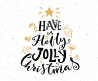 Have a holly jolly Christmas text. Christmas card design. With typography and gold doodles at white background royalty free illustration