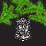 Have a Holly Jolly and Very Merry Christmas lettering. Happy New Year 2018 greeting card. Christmas green trees branches and lette. Ring in tree toys form Stock Photography