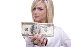 Have A Hundred. Cute blond girl/woman with a $100 bill - perfect for savings, income, bank, etc Stock Photography
