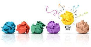 Have an idea. Concept of idea with colorful crumpled paper stock image