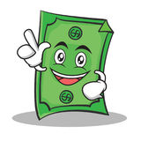 Have an idea Dollar character cartoon style Royalty Free Stock Photo