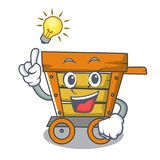 Have an idea wooden trolley mascot cartoon. Vector illustration stock illustration