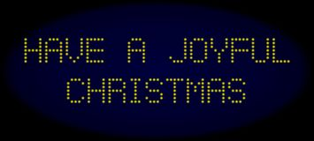 HAVE A JOYFUL CHRISTMAS Led Style Caption with Glowing Dots stock illustration