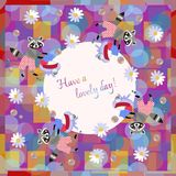Have a lovely day! Beautiful card with cute cartoon raccoons.  Royalty Free Stock Photography