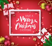 Have A Merry Christmas Everyone Greeting Typography Poster Inside Royalty Free Stock Image