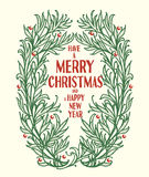 Have a merry cristmas and a happy new year. Cristmas crown, vector floral rame Royalty Free Stock Photography