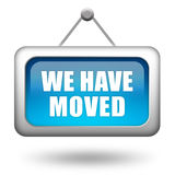 We have moved. Blue sign Stock Photo