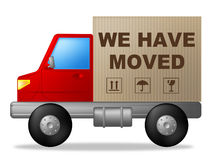 We Have Moved Means Change Of Residence And Lorry. We Have Moved Showing Change Of Address And Buy New Home Stock Photography