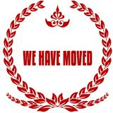 WE HAVE MOVED red laurels badge. Stock Photo
