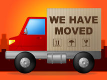 We Have Moved Shows Change Of Residence And Lorry Royalty Free Stock Images