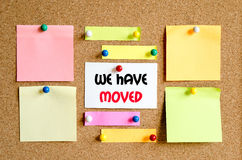 We have moved text concept Royalty Free Stock Photos