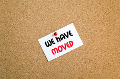 We have moved text concept Stock Photos