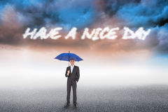 Have a nice day against cloudy landscape background Royalty Free Stock Images