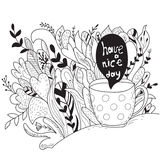 Have a nice day. Autumn doodle - coloring book Stock Photography