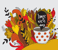 Have a nice day. Autumn doodle royalty free illustration