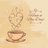 Have a nice day background with cup of tea. Royalty Free Stock Photography