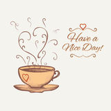 Have a nice day background with cup of tea Stock Photo
