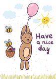 Have a nice day card with a cute bear flying on a balloon Royalty Free Stock Image