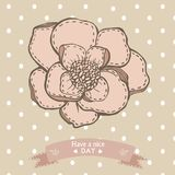 Have a nice day card with graphic hand drawing. Have a nice day card with graphic hand drawn flower and ribbon Royalty Free Stock Photography