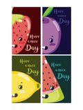 Have a nice day cards with fruits cartoon. Vector illustration graphic design vector illustration