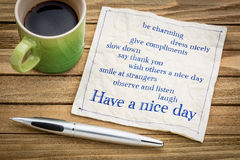 Have a nice day concept on napkin Stock Images