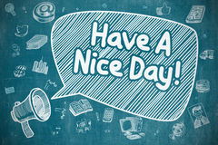Have A Nice Day - Doodle Illustration on Blue Chalkboard. Royalty Free Stock Photography