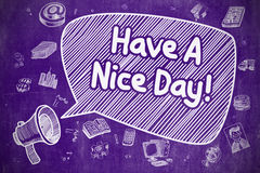 Have A Nice Day - Doodle Illustration on Purple Chalkboard. Royalty Free Stock Photo
