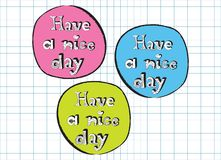 Have a nice day doodle signs pink, blue and green Stock Photos