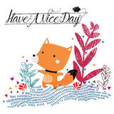 Have a nice day fox illustration Royalty Free Stock Images