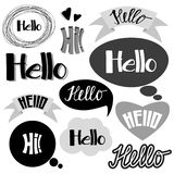 Hi, hello hand drawn lettering vector calligraphy royalty free illustration