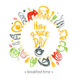 Have a nice day quote with breakfast set and funny elements of food and lettering in circle shape. Can be used for menu Stock Images