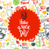 Have a nice day quote with breakfast set and funny elements of food and lettering in circle shape. Can be used for menu Stock Photography