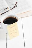 Have a nice day with smile and cup coffe Royalty Free Stock Photography