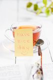 Have a nice day with smile and cup tea Stock Photos