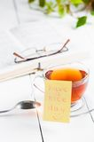 Have a nice day with smile and cup tea Stock Photo