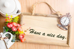 Have a nice day text in blank wooden photo frame Stock Photography