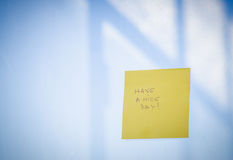Have a nice day text on sticky note Stock Photography
