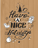 Have a nice holidays greeting card. Lettering and. Have a nice holidays greeting card. Hand drawn design. Lettering and doodle elements Royalty Free Stock Photography