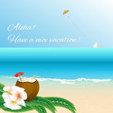 Have a nice vacation summer beach card. Royalty Free Stock Photos