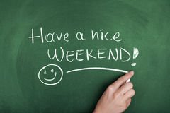 Have a nice weekend. Hand writing have a nice weekend on chalkboard