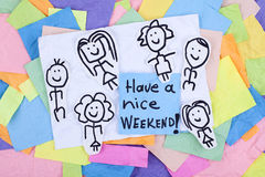 Have a Nice Weekend Happy Note Phrase Stock Images