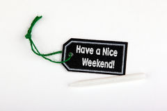 Have a Nice Weekend. Price tag with string on a white background stock photos