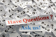 Have questions. Have  questions  marks on white papers -hard light Royalty Free Stock Photos