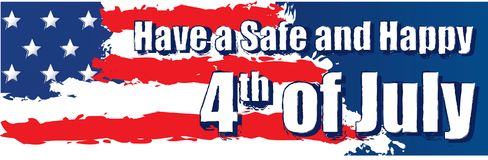 Have a Safe and Happy 4th of July Banner. With American Flag Royalty Free Stock Photo