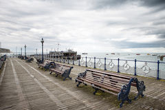 Have a seat on the swanage pier Stock Photos