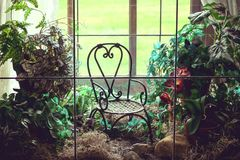 Have a seat in the terrarium. Pretty terrarium or fairy garden with a tiny chair and beautiful indoor plants Royalty Free Stock Images