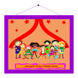 We have a souvenir of our holiday party. Picture of kids singing on stage Royalty Free Stock Photography