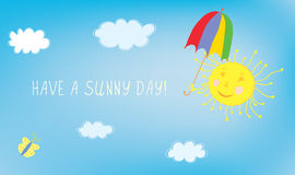 Have sunny day greeting card with sky Stock Image